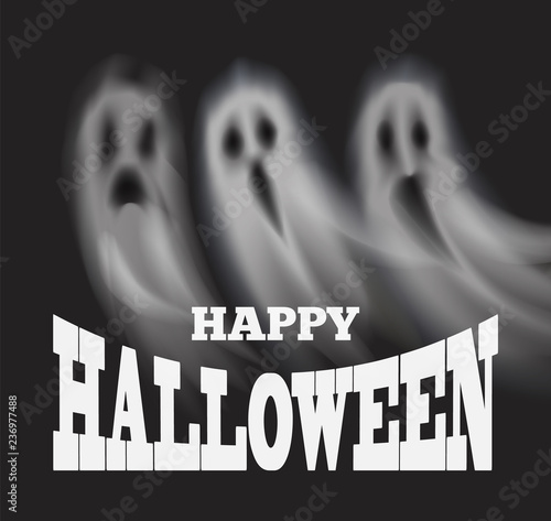 Obraz na plátně Happy Halloween Poster with Apparitions Vector
