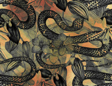 Tropical Seamless Pattern With Tropical Flowers, Banana Leaves And A Snake