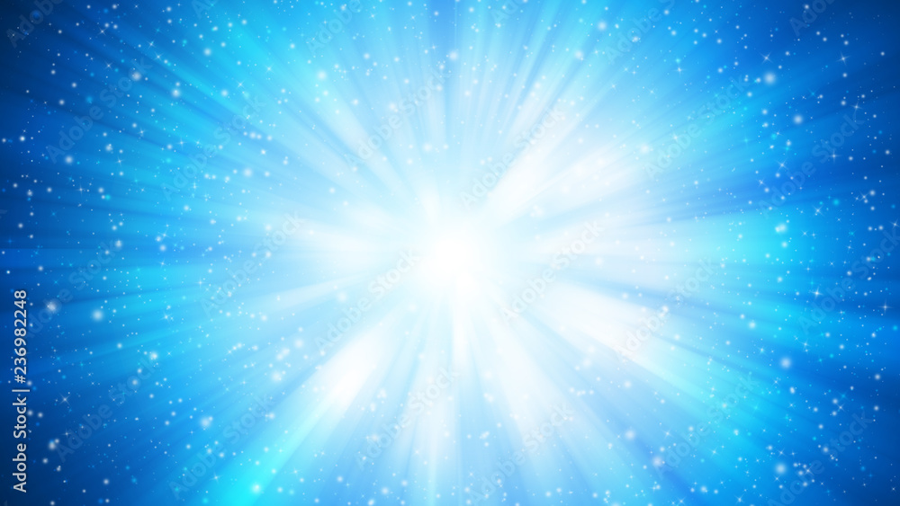 Fototapety, obrazy: Blue sparkle rays lights with bokeh elegant abstract background. Dust sparks background.