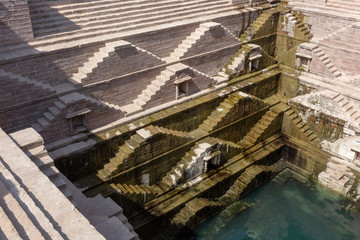 huge irrigation facility with a staircase geometric pattern in a small village in India, which is also expected to be registered as a World Heritage Site