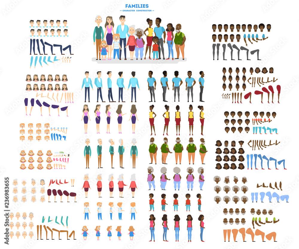 Fototapeta Big family character set for the animation