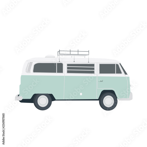 Fotografering  Vector blue retro bus isolated on white. Simple flat illustration
