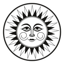 Vintage Black And White Ethnic Ornament Fresco Occult Smiling Sun