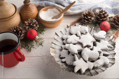 Freshly Baked Homemade Christmas Cookies With Sugar Powder On A