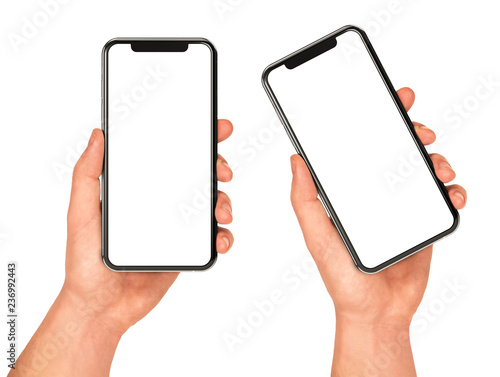 Photo  Man hand holding the black smartphone with blank screen