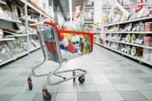 Cart Full Of Goods In Supermarket, Nobody