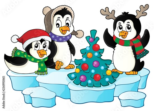 Christmas penguins thematic image 2