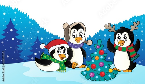 Christmas penguins thematic image 3