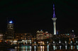 Auckland New Zealand harbor and cityscape at night