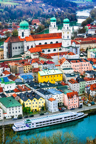 Travel in Germany (boat cruise in Danube river)- beautiful town Passau in Bavaria