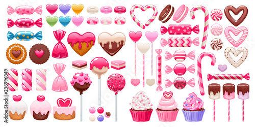 Valentine's day sweets set. Assorted candies.