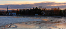 Icy Sunset On Roberval From Lac Saint Jean