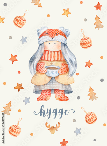 Christmas Greeting Card with Cute cartoon character - little girl with knitted scarf and foxy hat, cup of tea.