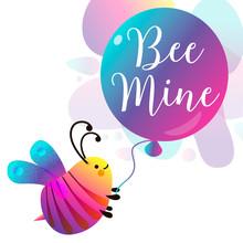 Bee Mine Card. Colorful Geomet...