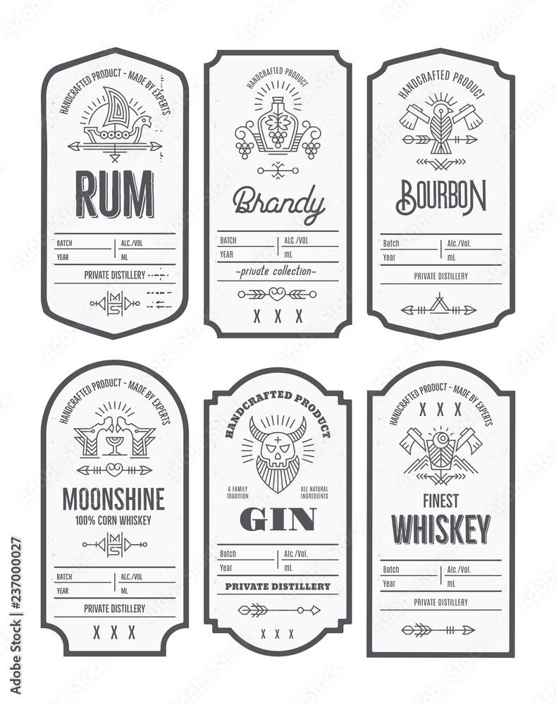 Fototapeta Set of vintage bottle label design with ethnic elements in thin line style.