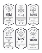 Set Of Vintage Bottle Label Design With Ethnic Elements In Thin Line Style.