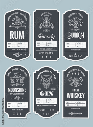 Fototapety, obrazy: Set of vintage bottle label design with ethnic elements in thin line style