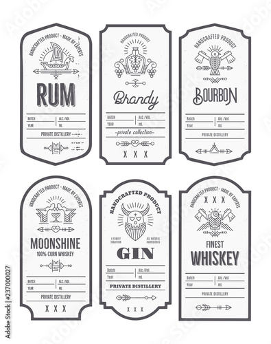 Photographie Set of vintage bottle label design with ethnic elements in thin line style