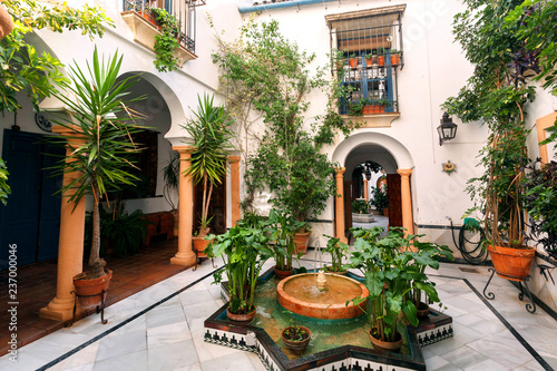 Fotografia, Obraz Traditional courtyard with columns, fountain and decor of Andalusia
