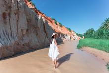 Portrait Asian Woman Travel, Fairy Stream (Suoi Tien) Mui Ne, In Vietnam.