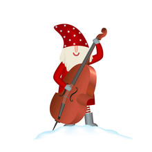 Christmas Vector Card Santa Claus On White Background With Contrabass