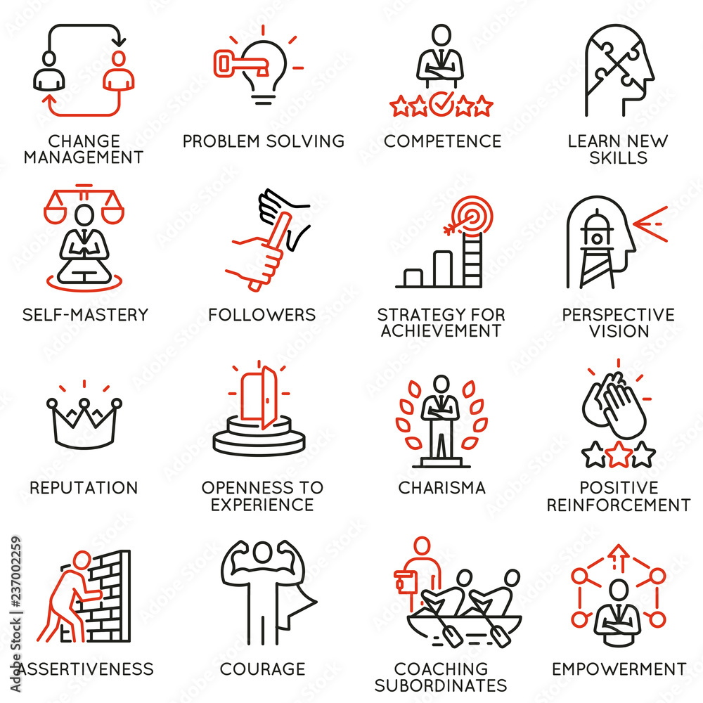 Fototapeta Vector set of linear icons related to skills, empowerment leadership development and qualities of a leader. Mono line pictograms and infographics design elements - part 6