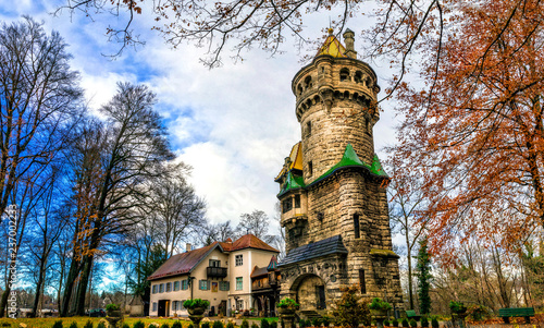 Picturesque old tower in Landsberg am Lech in Bavaria. Germany