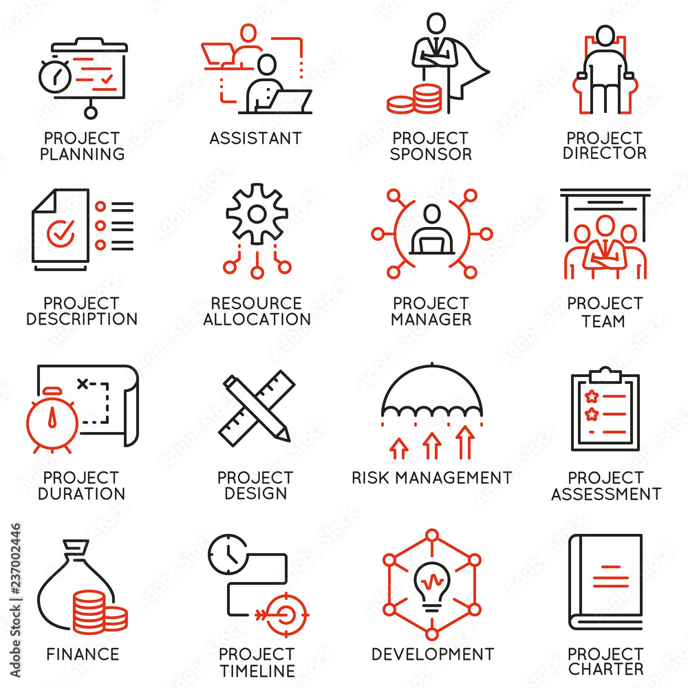 Fototapeta Vector set of linear icons related to project management. Mono line pictograms and infographics design elements - part 2