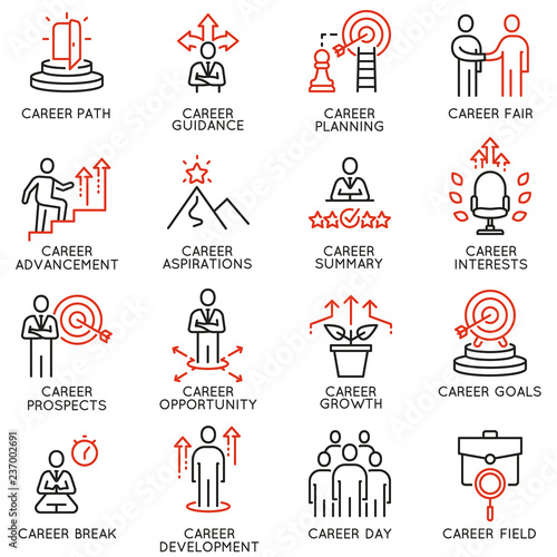 Vector set of linear icons related to career development and advancement Canvas Print
