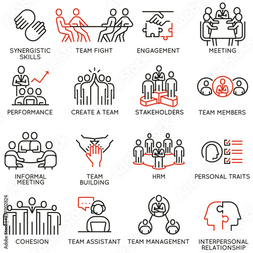 Fotografia  Vector set of linear icons related to business process, team work, human resource management and stakeholders