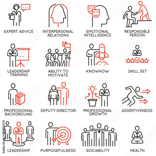 Vector set of linear icons related to skills, empowerment leadership development and qualities of a leader Wallpaper Mural