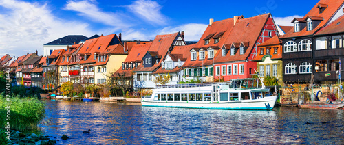 Best places of Bavaria (Germany) - scenic Bamberg town.Traditional colorful houses over Regnitz river