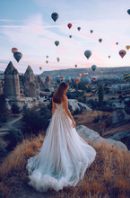 Wedding In Cappadocia G?reme With A Young Married Couple On The Background Of Balloons.