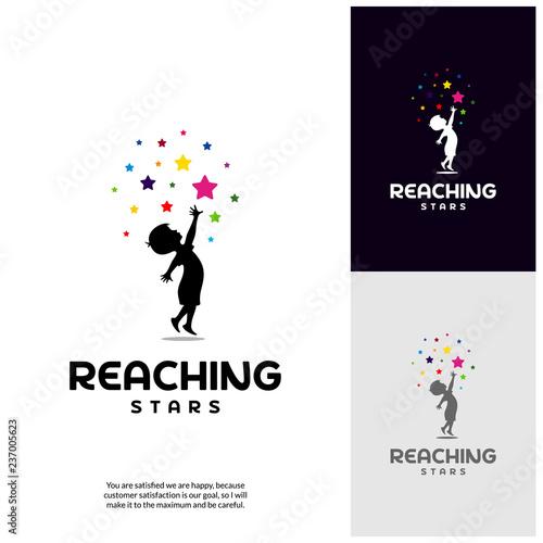 Photographie Reaching Stars Logo Design Template