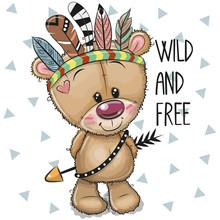 Cute Cartoon Tribal Teddy Bear...