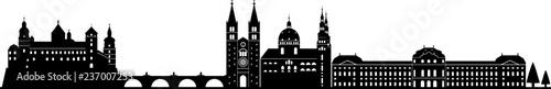 Fotomural Würzburg skyline detailliert // Vektor