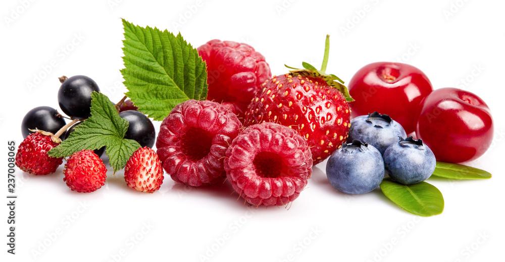 Fototapeta Set fresh berry. Mix summery fruit raspberry strawberry currant