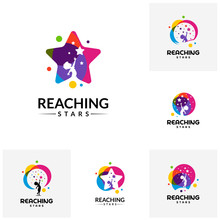 Set Of Reaching Stars Logo Design Template. Dream Star Logo. Emblem, Colorful, Creative Symbol, Icon