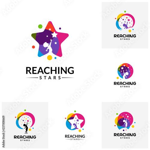 Obraz Set of Reaching Stars Logo Design Template. Dream star logo. Emblem, Colorful, Creative Symbol, Icon - fototapety do salonu