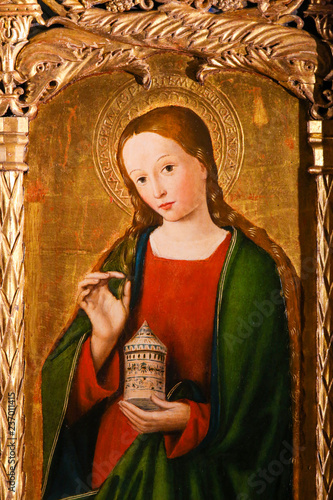 Fototapeta Altarpiece of St Nicolas in Monaco Cathedral - Mary Magdalene