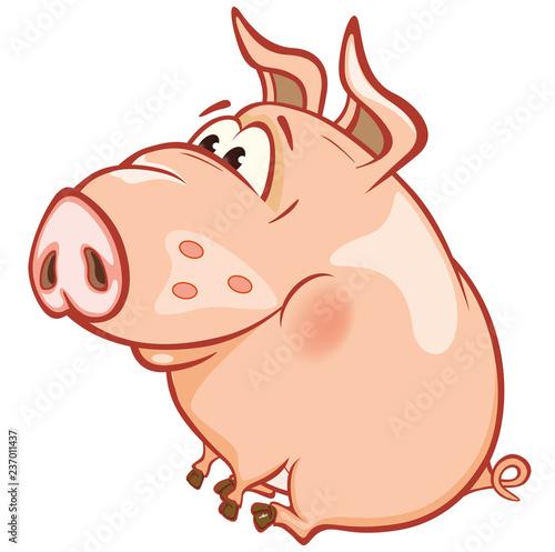 Vector Illustration of a Cute Pig. Cartoon Character