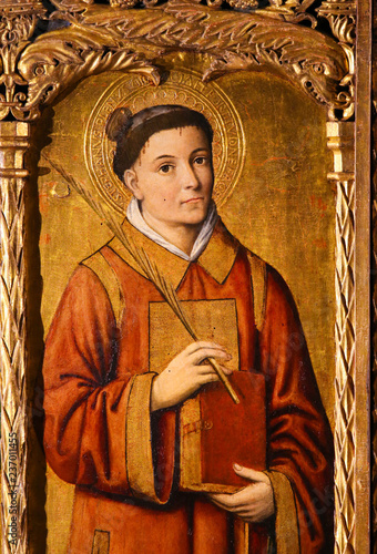 Altarpiece of St Nicolas in Monaco Cathedral - Saint Stephen Canvas Print