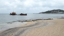 Wreck Of Commercial Ship El Maud Which Ran Aground In 1999 Due To Hurricane Lenny. Marigot, St Martin.