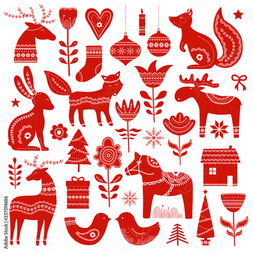Fotografie, Tablou Christmas hand drawn elements in Scandinavian style
