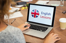 Woman Learning English Online