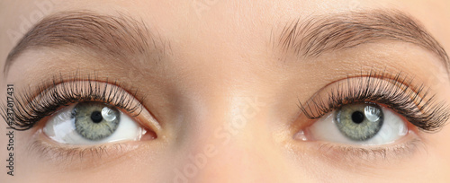 Poster Iris Closeup view of beautiful young woman with eyelash extensions