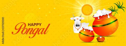 Happy Pongal religious festival of South India celebration background Fototapet