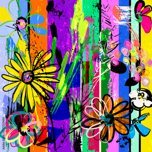 abstract background with spring flowers, with strokes, splashes and geometric lines
