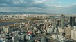 Timelapse.Aero View of Osaka Downtown with Clouds,Japan