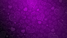 Background Of Big And Small Hearts With Ornament Of Curls And Flowers, In Purple Colors